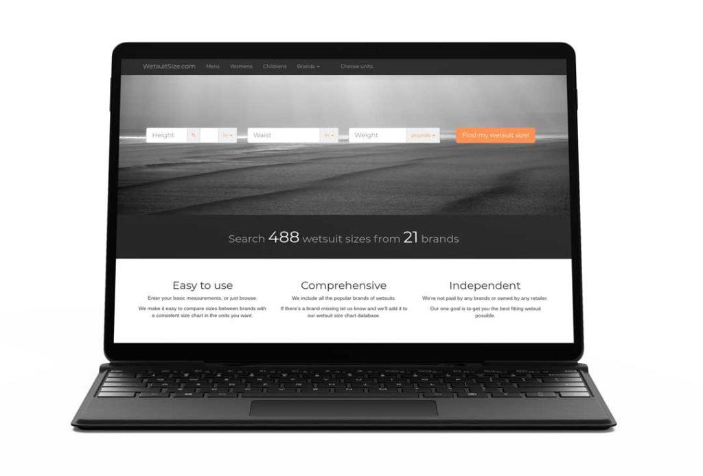 wetsuitsize.com website on a laptop